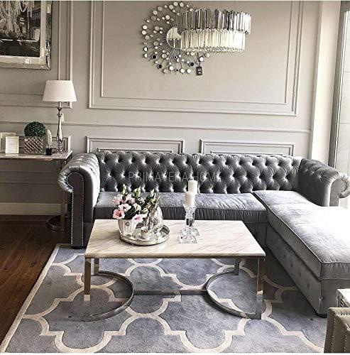 Sofá esquinero Chesterfield con función de Cama Plegable, tapizado en Estilo Glamour de 280 cm