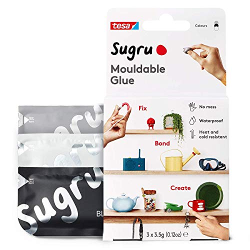 Sugru I000941 Moldable MultiPurpose Glue for Creative Fixing and Making Black White amp Gray 3 Piece