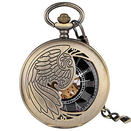 ZJZ Reloj de Bolsillo mecánico de Cuerda Manual clásico para Hombres, Relojes de Bolsillo para Damas con Reloj Colgante con números Romanos