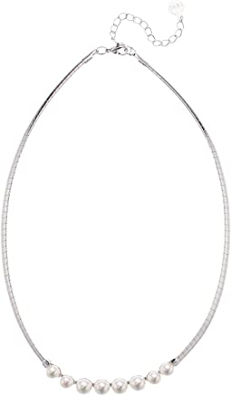 """Galatea 6/7 mm White Pearls Necklace on 14"""" Omega Steel Chain"""