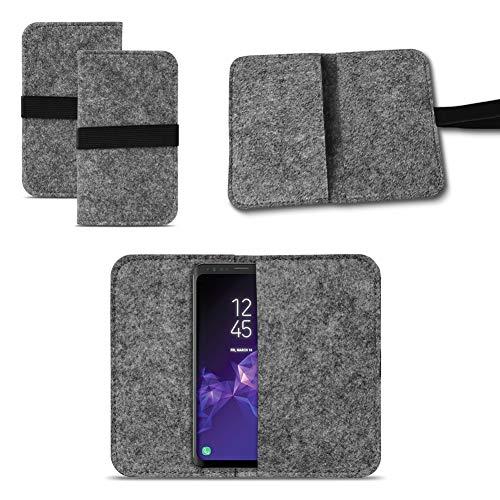 UC-Express Smartphone Tasche für Samsung Galaxy S9 / S9 Plus Cover Hülle Handytasche Hülle Schutzhülle Sleeve Filztasche mit Kartenfach Universal von Nauci, Farbe:Dunkel Grau
