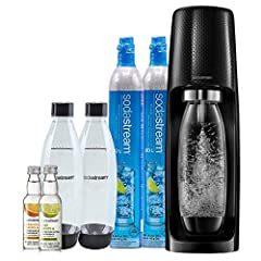 Make fresh sparkling water at the push of a button. Includes: sparkling water maker, (2) 60L Co2 cylinders, (3) 1 liter BPA-free reusable carbonating bottles, and (2) 40 ml zero calorie fruit drops of Lime & Orange. Energy efficient, powered by Co2 c...