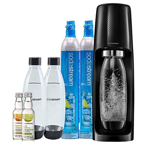 SodaStream Fizzi Sparkling Water Maker Bundle (Black), with CO2, BPA free Bottles, and 0 Calorie Fruit Drops Flavors