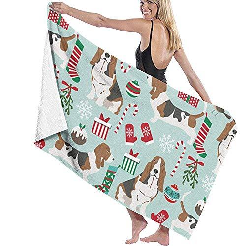 CASU Beach Towel Natale Zucchero Natale Calze Cane Telo Mare Asciugamano da Bagno in Microfibra di personalità Super Assorbente Coperta da Spiaggia ad Asciugatura Rapida