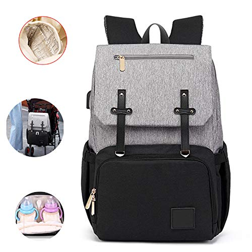 LiangKai Baby luiertas met USB-poort, met wandelwagen riemen multifunctionele waterdichte luierrugzak, grote capaciteit (zwarte as)