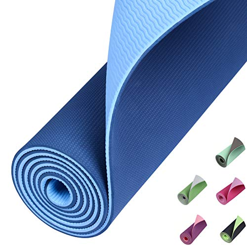 Eono by Amazon - TPE Yogamatte rutschfest Gymnastikmatte Pilates Matte Sportmatte Fitnessmatte Schadstofffrei - Blau