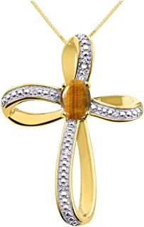 RYLOS Stunning Cross Pendant with Oval Shape Gemstone & Genuine Sparkling Diamonds in Sterling Silver .925-8X6MM Color Sto...