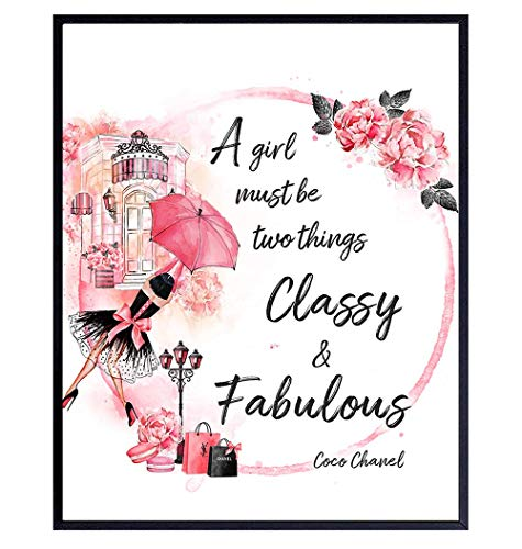 Coco Quote - Glam High Fashion Design Wall Art Decor for Bathroom, Girls Bedroom, Teens Room, Living Room - Luxury Gift for Women, BFF, Best Friend, Fashionista - Girly Couture Decoration
