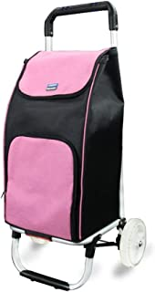 JDFHSD Shopping Cart 2 Wheel Shopping Trolley with Thermal Insulation Liner,Travel Trolley Bag (Color : Pink)