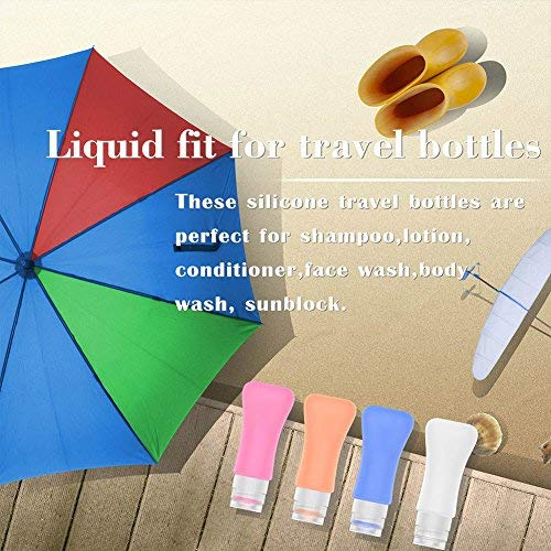 51LuO6bhs7L - 4 Pack Travel Bottles, TSA Approved Containers, 3oz Leak Proof Travel Accessories Toiletries,Travel Shampoo And Conditioner Bottles,Perfect for Business or Personal Travel, Fun Outdoors 9 Pieces