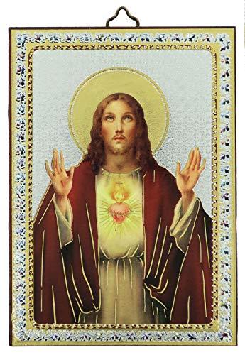 Cuadro Sagrado Corazón de Jesús estampa sobre madera - 10 x 14 cm