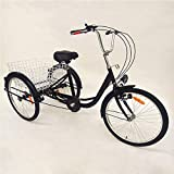 OUKANING Hansemay 24' 6 Speed Adult 3 Wheel Tricycle, Adult Bicycle Cycling Pedal Bike with White Basket for...