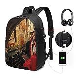WEQDUJG Mochila Portatil 17 Pulgadas Mochila Hombre Mujer con Puerto USB, Venecia 13 Mochila para El Laptop para Ordenador del Trabajo Viaje
