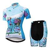 Weimostar Radsport-Trikot-Shorts für Damen Radtrikot-Sets mit Reißverschluss Zip-Shirts Kurzarm MTB-Tops Rennrad-Fahrradbekleidung Sommerrennen für Damen Damen Schnell trockene Blaue Sets Größe L