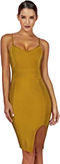 Maketina Women's Spaghetti Strap Deep V Neck Split Club Party Bodycon Bandage Dress