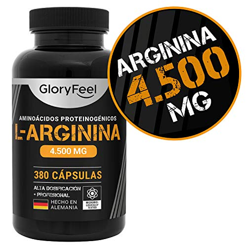 GloryFeel L-Arginina 380 cápsulas - Suplemento deportivo con 4500mg de L-Arginina HCL (3750mg de arginina pura) Alta dosificación diaria - Probada en laboratorios y fabricada en Alemania