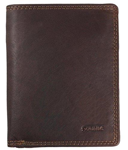 Pranke Geldbörse/Geldbeutel Herren ECHT Leder Portemonnaie aus antikem und weichem Rindsleder mit Kartenfächern in Vintage Braun