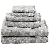 SUPERIOR Luxury Cotton Bath Towel Set - 6-Piece Towel Set, Premium Egyptian Cotton Towels, Silver