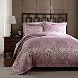 Simple&Opulence 100% Microfiber Polyester Rose Pink Twin Duvet Cover Set, Palace Paisley Printed Pattern, 2 Piece - 1 Comforter Cover and 1 Pillowsham (Twin)