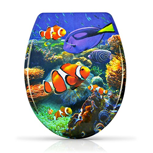 """WC Sitz mit Absenkautomatik -""""Clownfish"""" Design - Duroplast Toilettendeckel mit Motiv inkl. Montagesatz - Grinscard"""