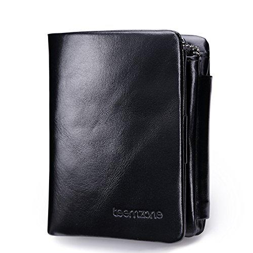 Uomo Pelle RFID Blocking Portafogli Tri-fold Portamonete Carta di credito borsellino Cerniera Moneta Borse con Schiocco (Nero)