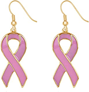 Enamel Pink Ribbon Breast Cancer Support Survivor Earrings Gift Jewelry for Cancer Survivor or Patient