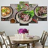 5 Piezas de Lienzo Que pintan Carteles de Ingredientes picantes y bistec Tipo Moderno, una Tienda de postres o Restaurante, Arte Decorativo de Pared, sin Marco