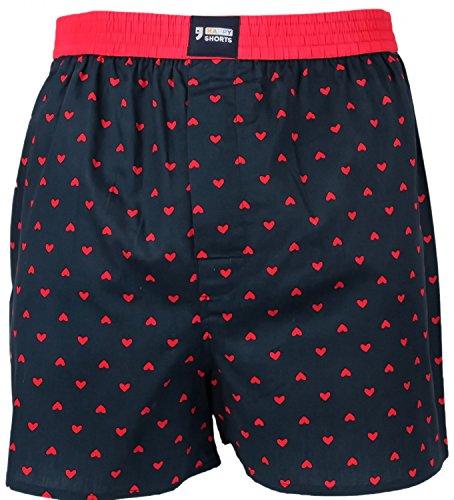 Happy Shorts Webboxer Herren Boxer Motiv Boxershorts Farbwahl, Grösse:XL, Präzise Farbe:Herz - Hearts