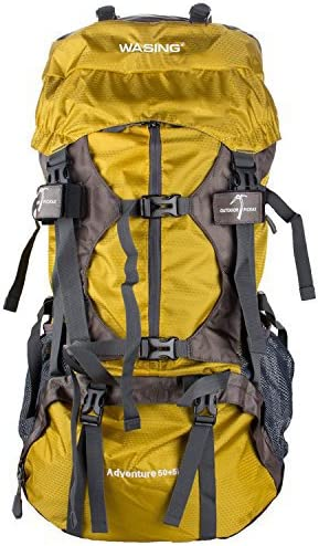 WASING 55L Internal Frame Backpack Hiking Travel Climbing Camping with Rain Cover
