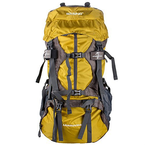 WASING 55L Internal Frame Backpack Hiking Backpacking Packs for Outdoor Travel Climbing Camping Mountaineering with Rain Cover - Yellow