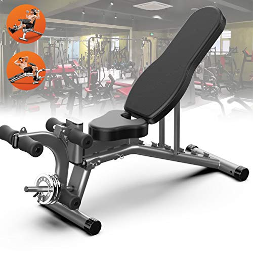 Folding 90° Sit Ups Adjustable Incline Folding Bench, Weight Bench with Leg Extension and Leg Curl for Home Gym Ab Exercise, Flat Incline Decline Multi Use(Not Othe Free Weights)