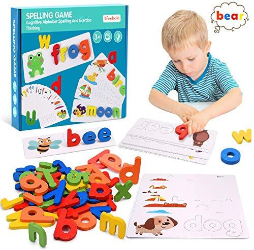Puzzle con Lettere,Giochi di Corrispondenza Delle Lettere,Puzzle in Legno,Puzzle di Forma e Puzzle di Apprendimento,Possono Essere Usati in Combinazione,Adatti ai Bambini in Età Prescolare.