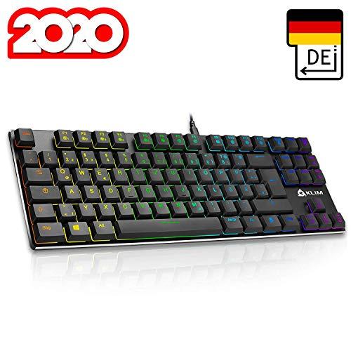 KLIM Dash TKL – Mechanische Tastatur mit roten Schaltern für Professionelle Anwender und Gamer - QWERTZ - Kompakt TKL Tastatur ohne nummernblock + RGB Farben und Beständiger Metallrahmen