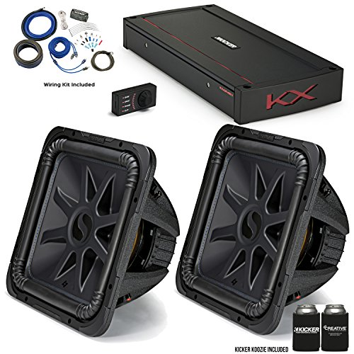 """Kicker 44L7S152 15"""" Solo-Baric L7S Subwoofers with 44KXA24001 KX-Series Amplifier and Wire kit."""