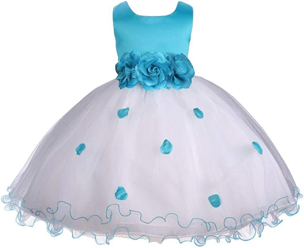 Girl's Holiday Turquoise Blue Flower Petals Ruffled Tulle Dress
