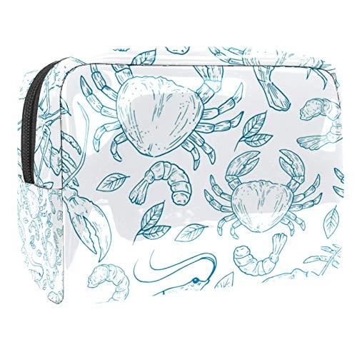 Bolsa de maquillaje porttil con cremallera, bolsa de aseo de viaje para mujer, prctica bolsa de cosmticos de almacenamiento dibujado a mano natural marisco langosta cangrejo gambas