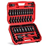 KBOISHA 1/2' Drive Master Impact Socket Set,65-Piece 6 Point Standard and Deep Socket Set SAE and Metric CR-V Steel Sockets with Adapters & Ratchet Handle
