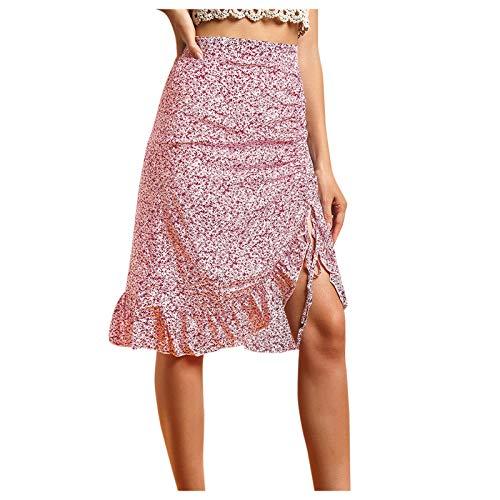 Liably Falda de moda para mujer con estampado de flores, cintura alta, estilo informal, elástica, para escuela, básica, para niñas, sólida, patinadora, tenis, minifalda rojo M
