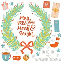 ウォールステッカー クリスマス Christmas Xmas 飾り 60×60cm Msize シール式 装飾 オーナメント ツリー リース 2020 xmas Xmas DIY サンタ パーティー イベント サンタ リース プレゼント 飾り 017040