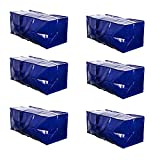 VENO Heavy Duty Extra Large Moving Bags W/ Backpack Straps Strong Handles & Zippers Compatible with IKEA Frakta Hand Cart, Storage Totes, Alternative to Moving Box, Recycled Material (Blue - Set of 6)