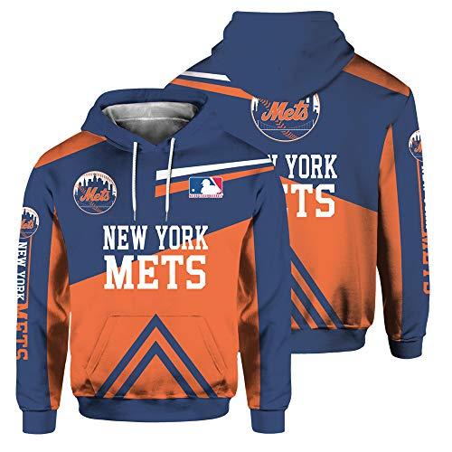 SryWj NFL-Kapuzenpullover, New York Mets-Anhänger, 3D-Gedruckter, gefärbter Pullover, geeignete Kleidung für Männer und Frauen