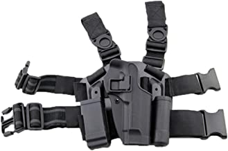 LIVIQILY Tactical Glock Leg Holster Right Hand Paddle Thigh Belt Drop Pistol Gun Holster w/Magazine Torch Pouch for 1911 Glock 17 19 22 23 31 32