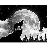 Pintar Por Número - Lobo animal aullando - Para, Niños, Adultos Y Adultos Mayores, Diy Pintura Al Óleo Con Lino 16X20 Pulgadas Lienzo Arte Pintura Decoración Hogar - (Sin Marco)