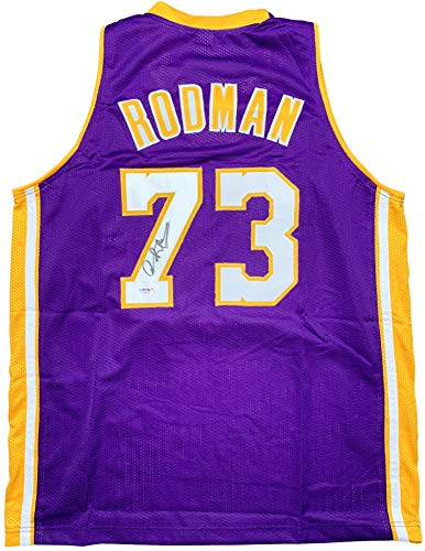 Dennis Rodman autographed signed jersey NBA Los Angeles Lakers PSA COA The Worm