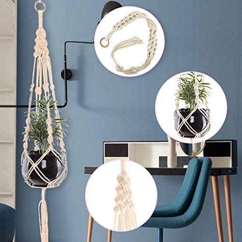 Moent Macrame Plant Hangers Hanging Basket Hanging Plant Holder Bohemian Decor Plant, Hand-Woven Tapestry Flower Pot Hanging Net Pocket Wall Hanging Basket No. 07