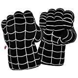 Superhero Boxing Gloves, Incredible Smash Fists Soft Plush Cosplay Costume Hands, Superhero Toys for Toddlers, Boys, Kids, Birthday, Halloween, (Black)