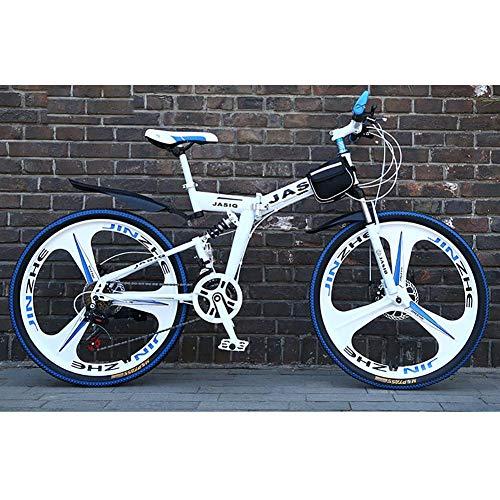 F-JWZS Unisex Zweifach Gefedertes Mountainbike, 21 Geschwindigkeit Faltrad, mit 24 Zoll 3-speichen-rädern und Doppelscheibenbremse, für Schüler, Kinder, Erwachsene Pendlerstadt,White