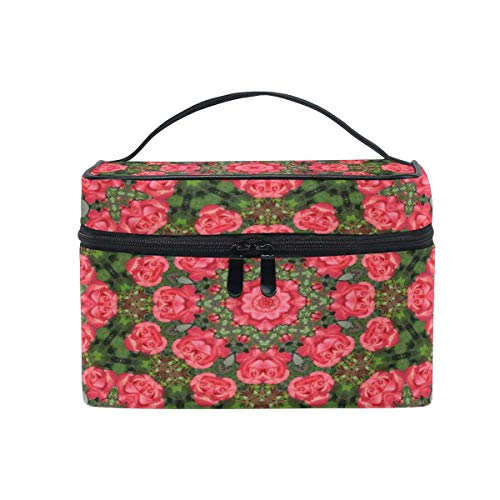Makeup Bag, Valentine Rose Pattern Portable Travel Case Large Print Cosmetic Bag Organizer Compartments for Girls Women Lady