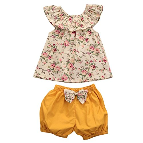 Bekleidung Longra Kleinkind Baby Mädchen Florale Ohne Arm Tops Bluse + Bogen Shorts Hose Outfits Kleiderset Sommerkleidung für Mädchen(0-3Jahre) (80CM 12Monate, Multicolor)