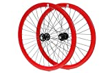 FabricBike-Track wheelsets for fixie and single speed bicycles. (Red, 700x25C)